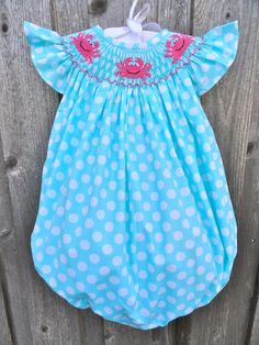 Turquoise Polka Dot Smocked Crab Bubble from Smocked Auctions