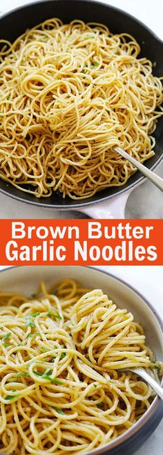 Brown Butter Garlic Noodles - the best noodles ever with garlic, brown butter, Parmesan cheese and oyster sauce. This recipe is delicious and takes - Noodle Recipes Garlic Butter Noodles, Garlic Noodles Recipe, Buttered Noodles, Garlic Pasta, Butter Noodle Recipe, Parmesan Noodles, Brown Butter Sauce, Asian Recipes, Ethnic Recipes