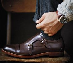 Why not pick his shoes too? love these Brown Leather Double Monk Strap Shoes, Mens Fall Winter Fashion.