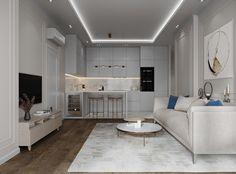 Apartment in Moscow on Behance Kitchen Room Design, Luxury Kitchen Design, Home Decor Kitchen, Interior Design Kitchen, Modern Interior Design, Small Apartment Interior, Modern Small Apartment Design, Plafond Design, House Layout Plans