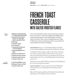 French Toast Casserole with Salted Frosted Flakes - Breakfast - teig Chrissy Teigen Cookbook, Chrissy Teigen Recipes, Good Morning Breakfast, Breakfast Time, French Toast Casserole, Breakfast Casserole, Brunch Recipes, Breakfast Recipes, Yummy Recipes