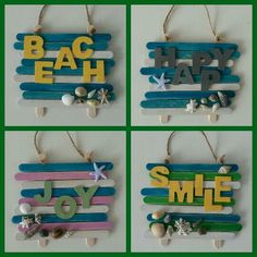 Tekstbordjes van ijsstokjes @ SEA Seashell Crafts, Beach Crafts, Diy Home Crafts, Summer Crafts, Wood Crafts, Crafts For Kids, Paper Crafts, Diy Wood, Lolly Stick Craft