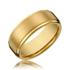 FlameReflection 8mm Tungsten Black Concave Brush Forever Love Etch Mens Wedding Ring