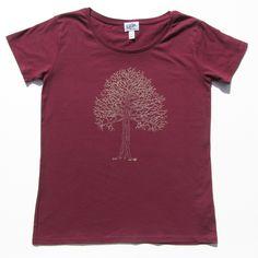 Tree on women's burgundy t-shirt
