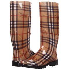 Burberry Haymarket Check Rainboots ($225) ❤ liked on Polyvore