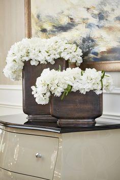 Hydrangeas in Copper Nickel Vases Set of two