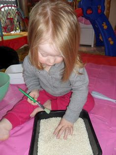 Learn with Play @ home: Rice Play: Find the Magnetic Letters Play Based Learning, Project Based Learning, Learning Through Play, Toddler Learning, Learning Activities, Cookie Sheet Activities, Sensory Activities, Toddler Activities, Sensory Tubs