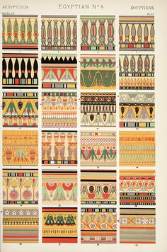 Ancient Egyptian textiles, pottery, exteriors and interiors and all recorded in the 1850's