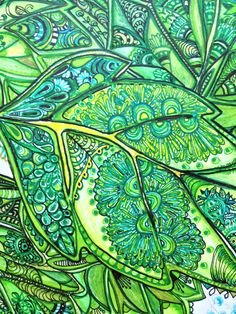 "ZenTangle ""Three Leaves"" (detail 2)"