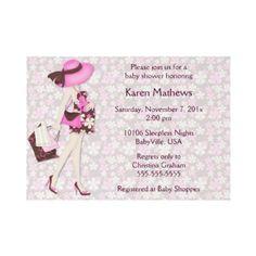 Retro Flowers Baby Shower Invitation (Pink CA) by BabyVille