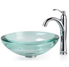 "View the Kraus C-GV-150-19mm-1005 Bathroom Combo - 17"" Clear Glass Vessel Bathroom Sink with Vessel Faucet, Pop-Up Drain, and Mounting Ring at Build.com."