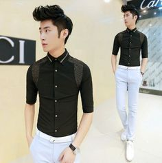 2014 New Fashion Patchwork Luxury Style Men Shirts Good Quality Casual Shirts Wholesale $24.66