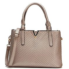 Celaine Womens Handbags V Series PU Leather Shoulder Satchel Bag - Gold Buckles and Zipper, Champagne Gold