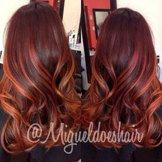 Pink-Red with Yellow Highlights - 20 Cool Styles with Bright Red Hair Color (Updated for - The Trending Hairstyle Auburn Balayage, Red Balayage Hair, Hair Color And Cut, Auburn Hair, Hair Highlights, Dyed Hair, Hair Inspiration, Hair Makeup, Hair Cuts
