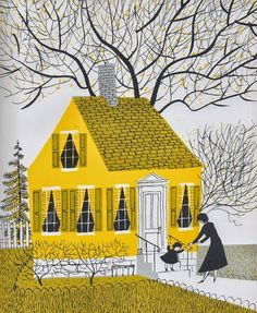 "Step into Maggie Dietz's ""The Yellow House, is part of Illustration - The kitchen is where we deal with the elements of the universe It is where we come to understand our past and ourselves "" ~ Laura Esquivel Which room in your house says the mos… Art And Illustration, Vintage Illustrations, Illustration Children, Design Illustrations, Creative Illustration, Inspiration Art, Art Inspo, Roger Duvoisin, Art Watercolor"