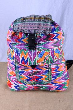 One of our favorite backpacks! Handmade and fair trade from Guatemala. :)  Check out this item in my Etsy shop https://www.etsy./listing/217871978/guatemalan-backpack-with-zigzag-and-bird