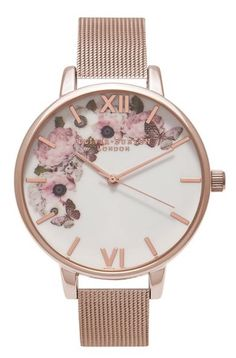 Olivia Burton butterfly watch in rose gold at Nordstrom