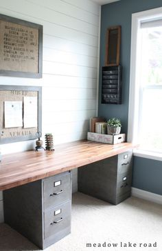 Modern farmhouse office. Filing cabinets with wood top. Easy DIY desk with shiplap walls. #ad #diydesk #office #shiplap #filing