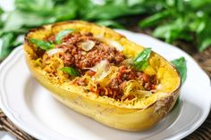Spaghetti Squash with Easy Meat Sauce | Chef Julie Yoon