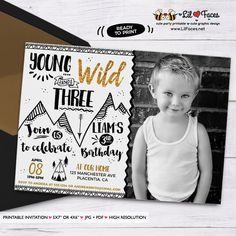 Young Wild and Three Birthday Photo invitation Black and gold printable Birthday invite - Printable DIY Invitation - Personalized Invite card DIY party printables will save you time and money while making your planning a snap!