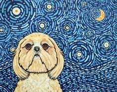Starry Night Shih Tzu Dog Pet Original Canvas Art Painting Dog Melinda Dalke