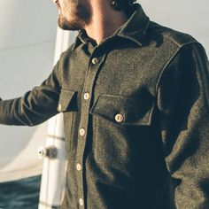 Taylor Stitch - Maritime Shirt Jacket in Moss Donegal Wool Taylor Stitch, Nautical Fashion, Nautical Style, Mens Fashion, Fashion Outfits, Fashion Ideas, Men Style Tips, Looks Style, Shirt Jacket