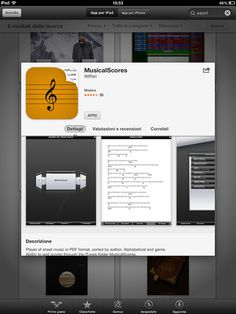 Musical Scores by WIPLAB - Player of sheet music in PDF format, sorted by author, Alphabetical and genre. Ability to add scores through the iTunes folder MusicalScores.  Ability to edit/delete any score