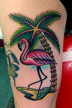 Pink Ribbon Tattoo With Palm Tree - Google Search