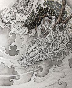 Japanese Drawings, Japanese Artwork, Japanese Tattoo Designs, Japanese Tattoo Art, Dragon Koi Tattoo Design, Dragon Tattoo Sketch, Dragon Oriental, Fu Dog, Japanese Dragon Tattoos