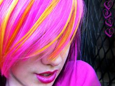 Pink, Yellow and Purple Hair by littlehippy on DeviantArt Love Hair, Gorgeous Hair, My Hair, Amazing Hair, Et Tattoo, Tattoos, Alternative Hair, Rainbow Hair, Pink Candy