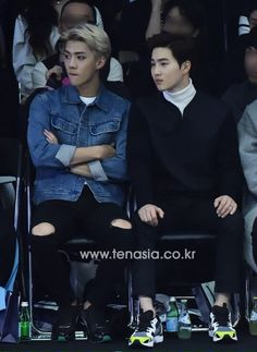151019 Sehun & Suho at 2015 Seoul Fashion Week
