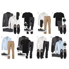 10 Wardrobe Essentials 1) Grey suit 2) Crisp white shirt 3) Striped blue shirt 4) Black Ts (round and v) 5) Light brown Chinos 6) Slim fit designer jeans 7) Black leather oxford shoes 8) Canvas sneakers 9) A good mechanical watch 10) Plain black tie