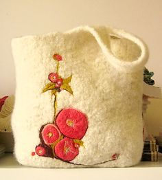 beautiful felted knit purse with needle felted design