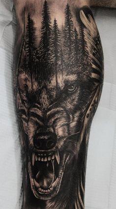 Die 230 besten Wolf Tattoos im Internet [Femininas e Masculinas] Best Leg Tattoos, Wolf Tattoos Men, Tattoos Arm Mann, Forarm Tattoos, Arm Tattoos For Guys, Body Art Tattoos, Cool Tattoos, Animal Sleeve Tattoo, Leg Sleeve Tattoo