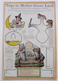 Vintage Mother Goose Mechanical Paper Dolls 1920 Cow Who Jumped Over the Moon | eBay