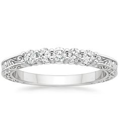 Delicate Antique Scroll Five Stone Diamond Ring in 18K White Gold