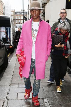Pink Coat, Red Chanel Sneakers and a string of Bohemian Necklaces... I just ADORE Pharrell <3
