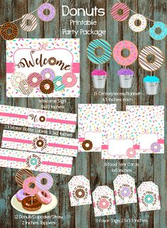 Donut Party Package, Donut Birthday Party, Donut Party supplies, Donut Birthday Printable Decorations, Donut Party, Donuts Printable Party