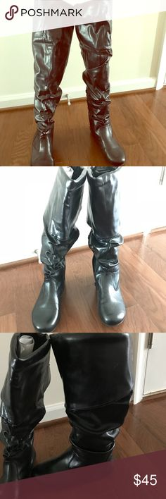 Ankle and over the knee leather boots! Worn a few times, condition like new. You can wear these boots over the knees or fold it to the knee. BAMBOO Shoes Over the Knee Boots