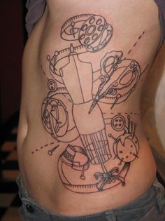 I bet this looks wonderful with color. I would like a sewing related tattoo, but I think mine will be smaller.