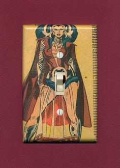 Karnilla, (Drag) Queen of Nornheim.  Quality-made vintage comic book lightswitch plate.