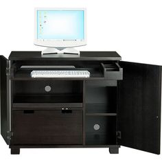 Incognito Ebony Compact Office in Filing Cabinets, Carts | Crate and Barrel