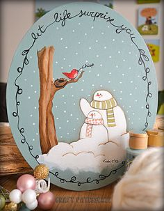 Christmas decor country painting snowman bird cute -giveaway