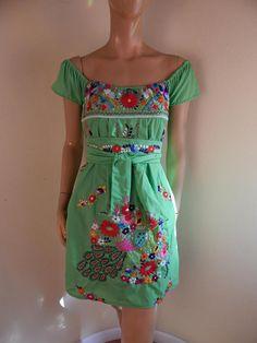 Mexican dress embroidered dress hippie dress handmade