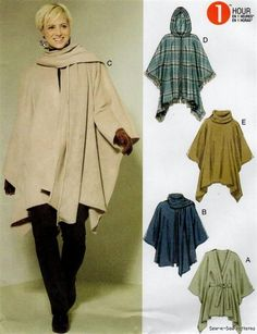McCalls M6209 SEWING PATTERN XS-M Fast Easy Fall/Winter Poncho Wool Fleece Coat