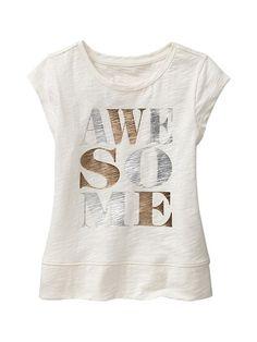 Metallic banded graphic tee Product Image:Greta Sweat Shirt, T Shirt Vintage, Statement Tees, Girls Tees, Tween Fashion, Kids Prints, Cute Shirts, Kids Wear, Costume