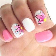 Beautiful White and Pink Nail Design.
