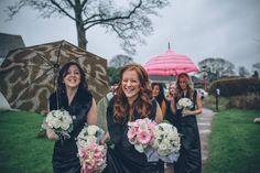 Black tie bridesmaids winter Rain wedding January