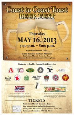 Coast to Coast Toast Beer Fest at the Boulder History Museum on May 16