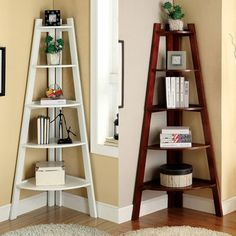 Ladder Bookcase In Bedroom Awesome Corner Ladder Shelf Master Bedroom Rfect for My Corner Ladder Shelf, Corner Bookshelves, Bookcase Shelves, Ladder Bookcase, Display Shelves, Ladder Display, Wall Shelves, Corner Plant Shelf, Corner Shelves Living Room
